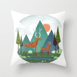 Deer and son Throw Pillow