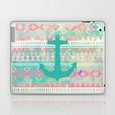 Sailing Aztec   Emerald Nautical Anchor Pastel Watercolor Aztec Laptop & iPad Skin