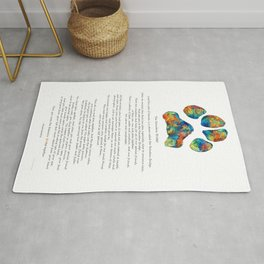 Rainbow Bridge Poem With Colorful Paw Print by Sharon Cummings Rug