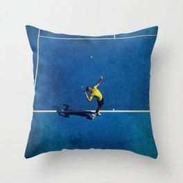 Novak Djokovic Tennis Serving Throw Pillow