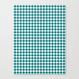 White and Teal Green Diamonds Canvas Print