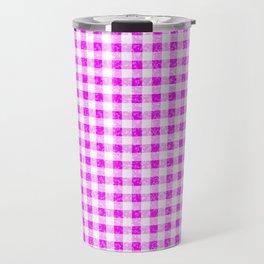 Gingham Pink and White Pattern Travel Mug