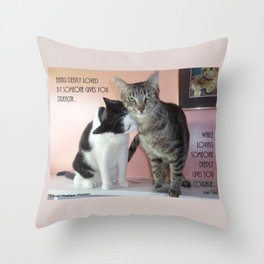 Love Gives Us Strength: Two Cats Throw Pillow