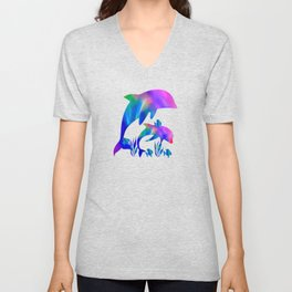 Rainbow Dolphins swimming in the sea Unisex V-Neck