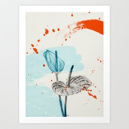 Anthurium / orange and blue Art Print