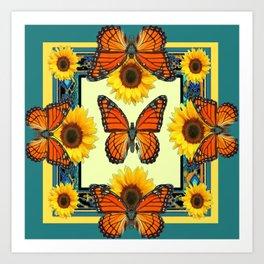 Teal & Orange Monarch Butterflies  Sunflower Patterns Art Art Print