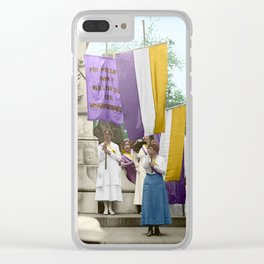 Lafayette, We Are Here! Suffragists protest across from the White House in 1918 Clear iPhone Case