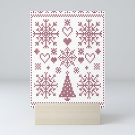 Christmas Cross Stitch Embroidery Sampler Pink And White Mini Art Print