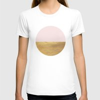 rose gold T-shirts featuring Color Blocked Gold & Rose by Caitlin Workman