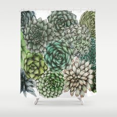 An Assortment of Succulents Shower Curtain