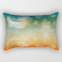 """Turquoise Moth & Marguerites (Heaven Background)"" Rectangular Pillow"