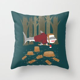 LumberJack Shark Throw Pillow