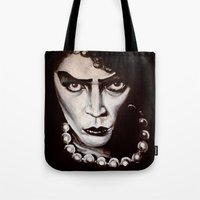 "rocky horror Tote Bags featuring Rocky Horror Picture Show ""Sweet Transvestite"" by Kristin Frenzel"