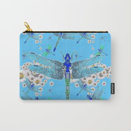 BLUE DRAGONFLIES LILAC WHITE DAISY FLOWERS  ART Carry-All Pouch