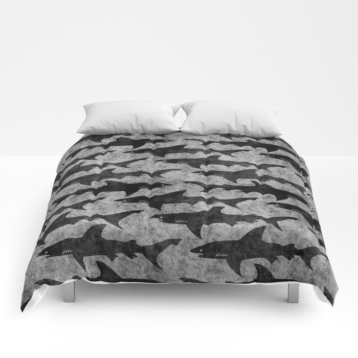 Gray and Black Shark Pattern Comforters