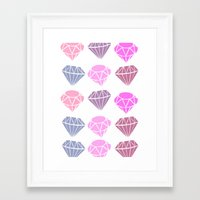 diamonds Framed Art Prints featuring Diamonds by Jenny Viljaniemi