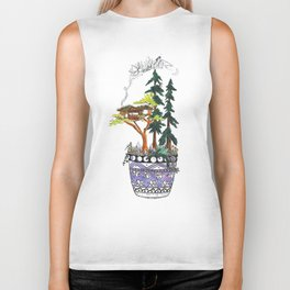 Forest Tree House - Woodland Potted Plant Biker Tank