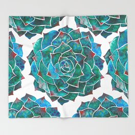 Watercolor rosette succulent Throw Blanket