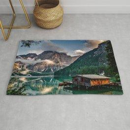 Italian Mountains Lake Landscape Photo Rug