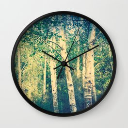 Stand of birch trees with small pathway lined in grasses running through it Wall Clock