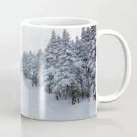 vermont Mugs featuring Skiing Vermont by BACK to THE ROOTS