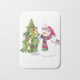 Happy new Year and marry Christmas. snowman,bunny and bird. Bath Mat
