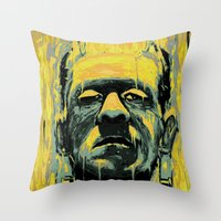 frankenstein Throw Pillows featuring Frankenstein by nicebleed