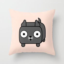 Pitbull Loaf - Blue Pitbull with Cropped Ears Throw Pillow