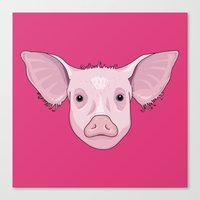pig Canvas Prints featuring Pig by Compassion Collective