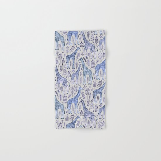 Blue Giraffe Pattern Hand & Bath Towel