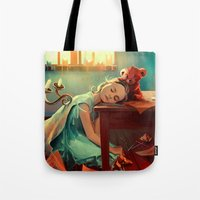 kindle Tote Bags featuring When she was six by Cyril ROLANDO