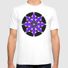 Purple Flower Mens Fitted Tee White MEDIUM
