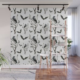 Happy Halloween pattern with hollow trees, ravens and bats Wall Mural