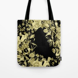 Stardust Black and Gold Floral Motif Tote Bag