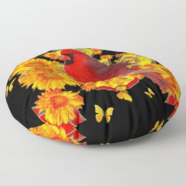 BUTTERFLIES  RED CARDINAL SUNFLOWERS BLACK ART Floor Pillow