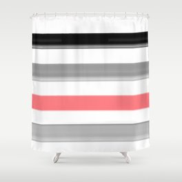 Watercolor striped pattern in black and grey , white and pink colors . Shower Curtain