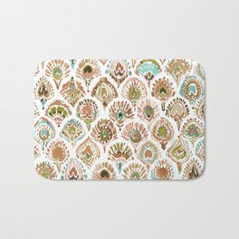 PEACOCK MERMAID Rose Gold Mint Scales and Feathers Bath Mat
