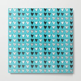 Baby Blue Heart Doodles Metal Print