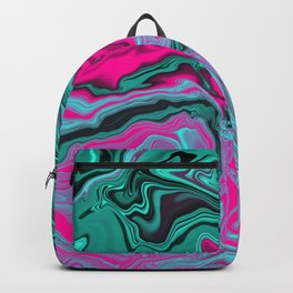 Abstract Marble Art Green Pink Tone Color Backpack