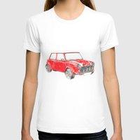 mini cooper T-shirts featuring Red Mini Cooper by Meg Ashford