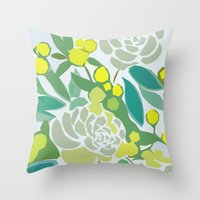 floral pattern Throw Pillows featuring floral pattern by frameless