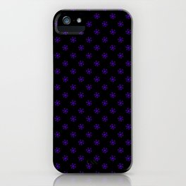Indigo Violet on Black Snowflakes iPhone Case