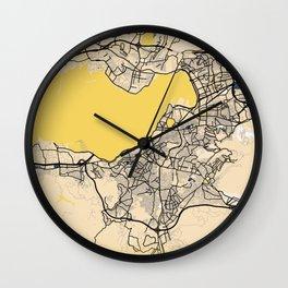 Izmir Yellow City Map Wall Clock