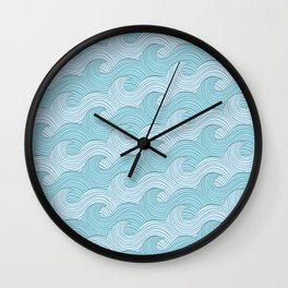 Blue Sea Waves Wall Clock