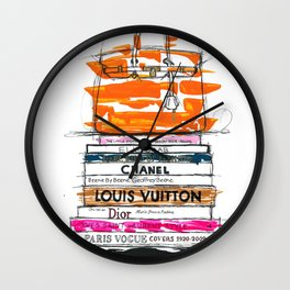 Birkin Bag and Fashion Books Wall Clock