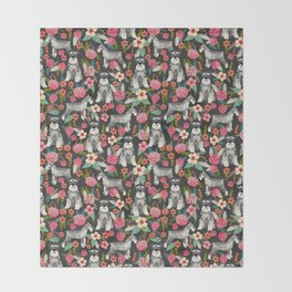 Schnauzer floral must have dog breed gifts for schnauzers owners florals Throw Blanket