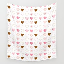 Pink and Gold Hearts Doodle Art Wall Tapestry