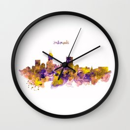 Indianapolis Skyline Silhouette Wall Clock