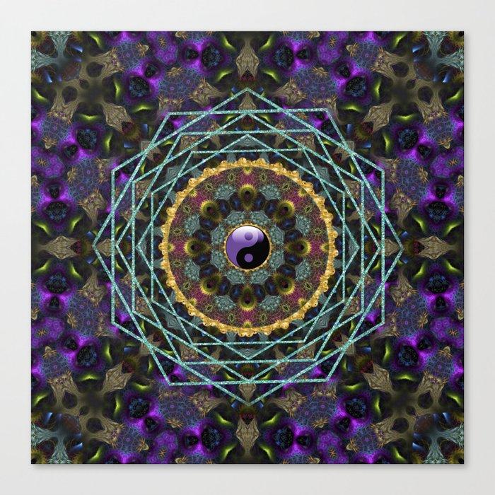 Purple Yin Yang Sacred Geometry Fractals Canvas Print