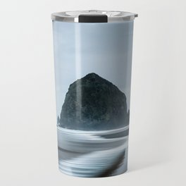 Incoming Waves Recede During Rainy Weather at Haystack Rock in Cannon Beach, Oregon Travel Mug